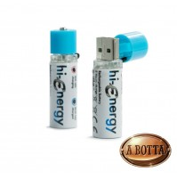 2 Batterie Stilo Ricaricabili da USB HI-ENERGY Originale Hi-Fun 1,2 Volt 1450 mA