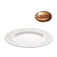 6 Piatti Piani in Porcellana Bianco ALESSI Dressed MW01/1 con Decoro a Rilievo