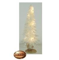 Albero Alberello Natale in PVC H. 41 cm Bianco con 15 Led Luce CALDA a Batteria