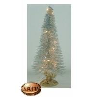 Albero Alberello Natale in PVC H. 41 cm Silver con 15 Led Luce CALDA a Batteria