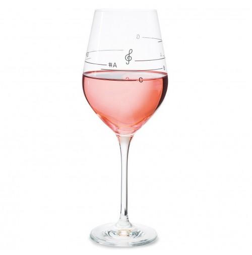 Bicchiere Calice da Vino GLASS OF MUSIC con Note Musicali Idea Regalo Musica