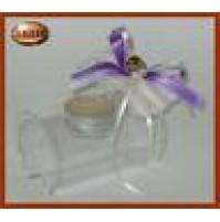 Bomboniera tronchetto in cristallo porta moccoletto con candela - 117081 -