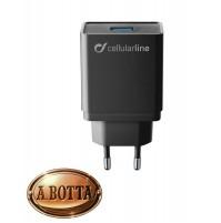 Caricabatterie Caricatore Rapido da 18 Watt Cellularline USB Fast Adapter iPhone
