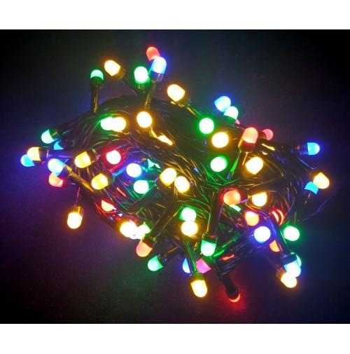 Catena 100 Luci MAXI LED per Albero di Natale Multicolore 7,9 metri da Esterno