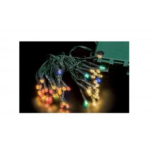 Catena 48 Luci Mini LED  Albero di Natale Bianco Caldo e Multicolor a Batteria