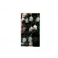 Cordone Luci di Natale 10 Casette Bianche con Luce a Led Calda 180 cm da Interno