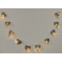 Cordone Luci di Natale Cuori Luminosi Led Luce Calda 38144 Grigio Scuro 170 cm