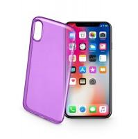 Cover in Gomma Ultra Sottile per iPhone X Cellularline COLOR CASE Viola Custodia