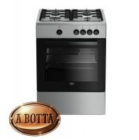 Cucina a Gas 60x60 cm 4 Fuochi BEKO FSG62000DX Silver con Forno a Gas - Fornello