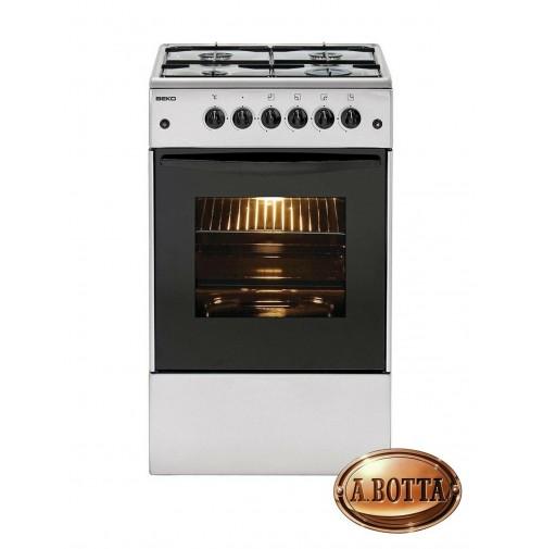 Cucina a Gas con 4 Fuochi BEKO CSS42014FS Silver Forno ...
