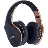 Cuffia Stereo Bluetooth Ricaricabile AKAI BTH11 Gold Microfono MicroSD Radio