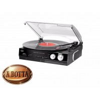 Giradischi Stereo 33 e 45 Giri Trevi TT 1010 R Nero con Radio FM e Uscita Cuffia