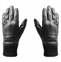 Guanti Capacitivi IN PELLE per Touch Screen HI-GLOVE LEATHER Hi-Fun Nero Uomo XL