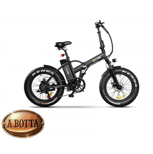 ICON.E Pure Black Fat E-Bike 250 Watt - Bicicletta Elettrica City Pieghevole