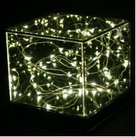 Luci di Natale Decorazione Cubo in Vetro 15 cm con 20 LED Luce Calda a Batteria