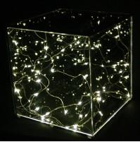 Luci di Natale Decorazione Cubo in Vetro 20 cm con 20 LED Luce Calda a Batteria