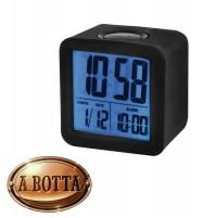 Orologio Sveglia Digitale a Cubo Trevi SLD 3865 Nero Gommato + Calendario
