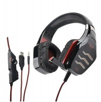 Ovleng GT 86R Cuffia Gaming con Microfono Jack 3,5 mm Led USB Rosso Playstation