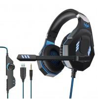 Ovleng GT 93BL Cuffia Gaming con Microfono Jack 3,5 mm e Led USB Blu Playstation