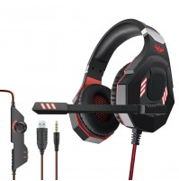 Ovleng GT 93R Cuffia Gaming con Microfono Jack 3,5 mm Led USB Rosso Playstation