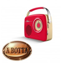 Radio Portatile Vintage Design Retrò AKAI R100 Rosso 11 Watt AM/FM USB SD AUX-IN