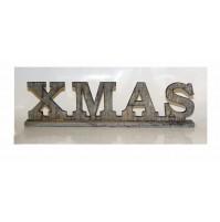 Scritta Natalizia in Legno XMAS Grigio 33,5 x 9 cm - Decorazione Decoro Natale