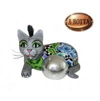 Scultura TOM'S DRAG COMPANY Gatto Bola Plateada Silverbal Cat M Silver Line