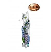 Scultura TOM'S DRAG COMPANY Gatto Guardian Cat M Silver Line Altezza 49 cm