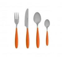 Set 4 Posate Posto Tavola Brandani GINGER 82144 Arancio Acciaio Inox - Cutlery