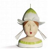Statua Scultura BADEN Busto Donna con Cappello Fiore 30 cm - Statue Sculpture