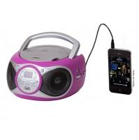 Trevi CD 512 Lettore CD Stereo Portatile Fucsia Radio FM AUX IN e Presa Cuffia