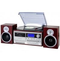 Trevi TT 1070 Giradischi Stereo 33 45 78 Giri Legno Encoding Bluetooth CASSETTE