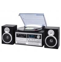 Trevi TT 1072 Giradischi Stereo 33 45 78 Giri Nero Encoding Bluetooth CASSETTE